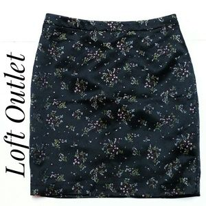 Loft Outlet Asian Print Black Satin Skirt Size 10